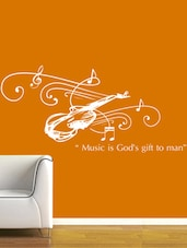 """""""Music Is God's Gift…"""" Quoted Vinyl Wall Sticker - Creative Width Design"""