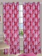 Floral Printed Pink Eyelet Door Curtain - Handloomdaddy