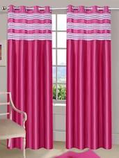 Dark Pink Eyelet Door Curtain - Handloomdaddy