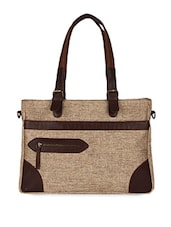 Brown Jute Messenger Bag With Leather Trims - Guava