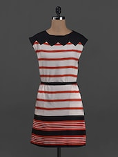 Stripes Printed Sleeveless Polycrepe Dress - Belle Fille