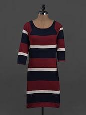 Stripes Printed Cotton Knit Dress - Belle Fille