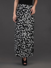 Floral Printed Monochrome Crepe Skirt - Belle Fille