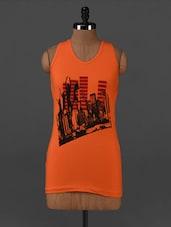 Orange Graphic Printed Cotton Tank Top - Posh 7