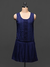 Navy Blue Viscose Dress With Lace Work - Global Colours