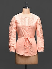 Peach Cotton Shirt With Lace Work - Global Colors