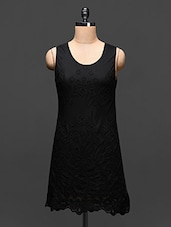 Black Embroidered Lace Dress - Global Colors