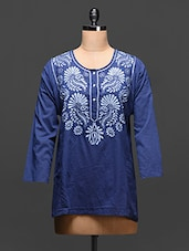 Navy Blue Embroidered Cotton Top - Global Colors