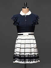 Navy Blue And White Printed A-Line Dress - Buylane