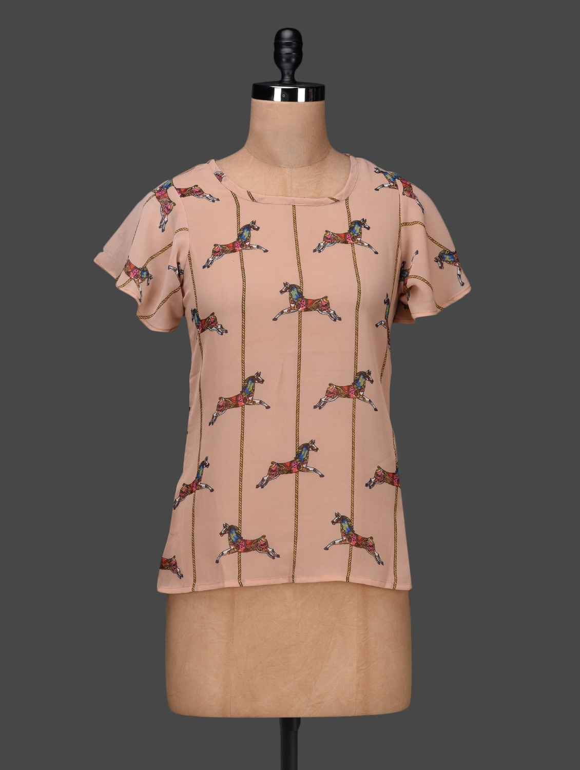 Horse Printed Round Neck Short Sleeves Georgette Top - Shilpkala