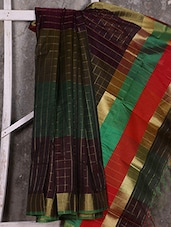 Checks Zari Pattern Handwoven Art Silk Saree - Shiva Saree