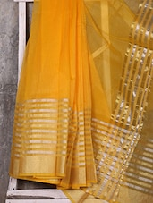 Yellow Stripped Broad Border Handwoven Banarasi Kota Saree - Shiva Saree