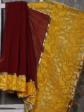 Yellow Border Jute & Net Handwoven Saree - Shiva Saree