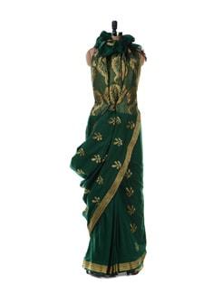 Green Saree With Gold-silver Border - Platinum Sarees