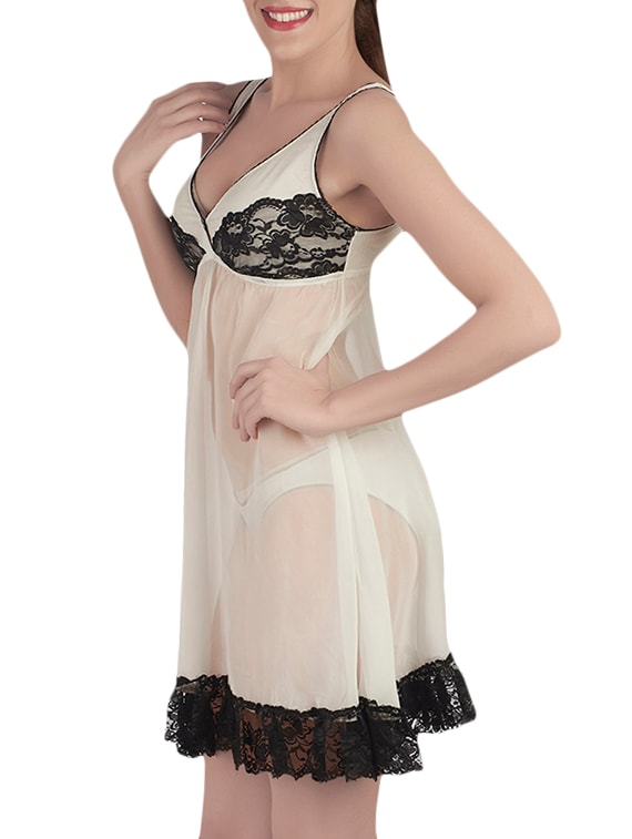 d6a941da56 Buy Ivory Polyester Sleepshirts   Nighty by Soie - Online shopping for  Sleepshirts   Nighties in India
