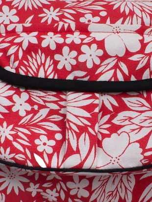 red and white canvas floral printed sling  bag - 10701204 - Standard Image - 4