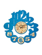 Blue Abstract And Floral Print Cutout Wall Clock - Wood Pecker