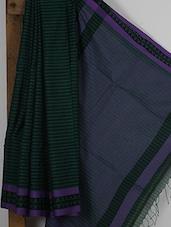 Black And Green Handwoven Jacquard Cotton Silk Saree - NFTSSLTD