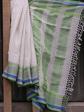 White Checked Jacquard Linen Saree - NFTSSLTD