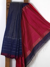 Navy Blue Handwoven Cotton Silk Saree - NFTSSLTD