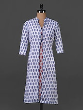 Blue & Red Printed Cotton Kurti - Tissu