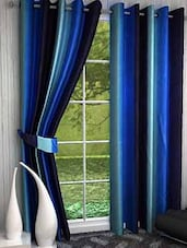 Home Fantasy Blue Plain Long Door Curtain Set Of 2 - By