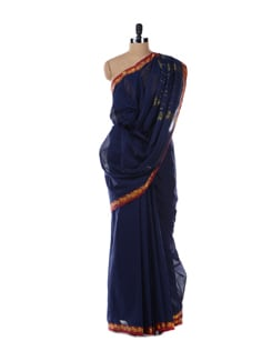 Blue Saree With Magenta Border - Platinum Sarees