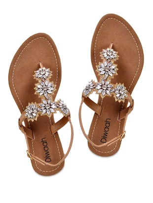 03f350e09cd8 Buy Floral Pattern Stone Embellished Sandals for Women from Diwaah for ₹800  at 0% off