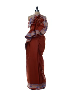 Rust Cotton Saree - Platinum Sarees