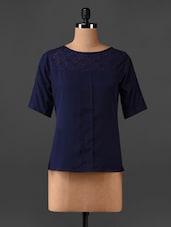 Blue Lace Yoke Top - CHERYMOYA