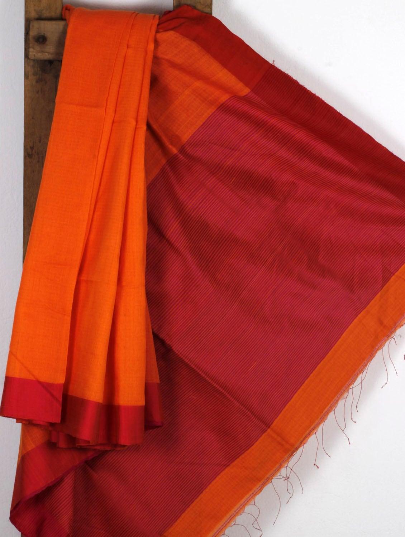 Orange Handwoven Cotton Silk Saree - NFTSSLTD