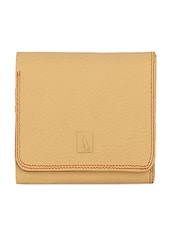 Textured Pale Yellow Tri-fold Leather Wallet - ADAMIS