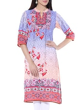 Blue And Pink Printed Crepe Kurta - By