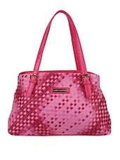 Woven Textured Pink Hand Bag - Lino Perros