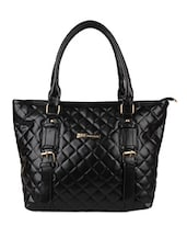 Black Quilted Leatherette Hand Bag - Lino Perros