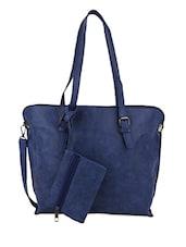 Zip Closure Blue Single Pocket Hand Bag - Lino Perros