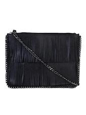 Black Fringes Sling Bag - Lino Perros