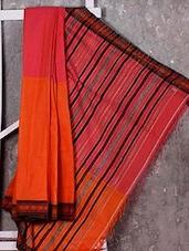Orange And Peach Handwoven Saree - NFTSSLTD