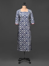 Square Neck Quarter Sleeve Printed Cotton Kurta - Tissu