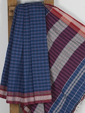 Blue Handwoven Cotton Silk Jacquard Saree - NFTSSLTD