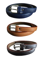 Brown, Beige, Blue Leatherette Combos Belt - By