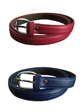 Red, Blue Leatherette Combos Belt - By