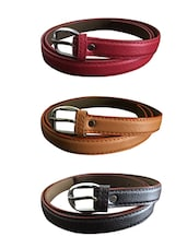 Red, Beige, Brown Leatherette Combos Belt - By