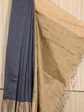 Grey And Gold Raw Silk Saree - Cotton Koleksi