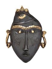 Black Tribal Face Brass Wall Hanging - HanDécor