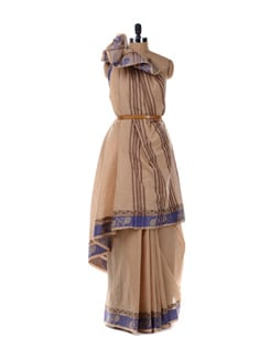 Beige Saree With Blue Border - Platinum Sarees