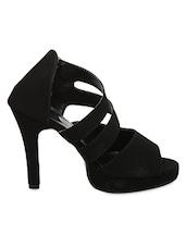 Black Zipper Closure Heel Sandals - IL Vigore