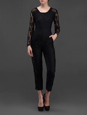 Black Lace Long Sleeves Jumpsuit - Liebemode