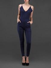 Navy Blue Backless Jumpsuit - Liebemode