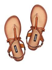 Brown Buckled Leatherette Flat Sandals - Karizma Shoes